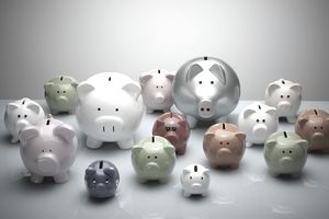 A group of multi-colored piggy banks on a blue surface