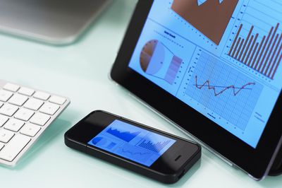 Information about stock options values over time on tablet and smart phone