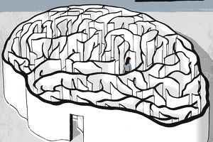 Woman walking inside brain maze