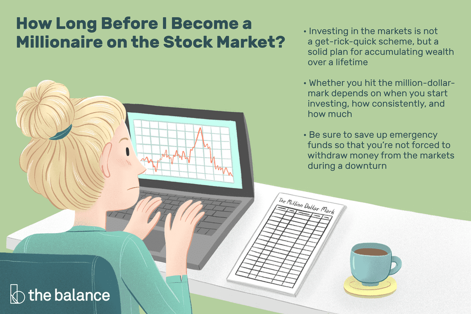 How Long Before I Become a Millionaire on the Stock Market? Investing in the markets is not a get-rick-quick scheme, but a solid plan for accumulating wealth over a lifetime Whether you hit the million-dollar-mark depends on when you start investing, how consistently, and how much Be sure to save up emergency funds so that you're not forced to withdraw money from the markets during a downturn
