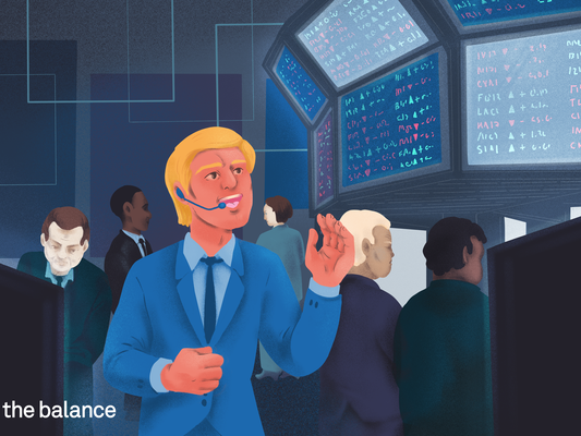 Image shows a trader on the floor, trading stocks.