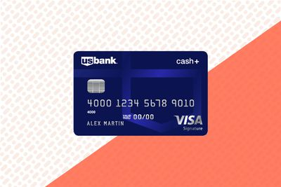 The front of the U.S. Bank Cash+ Visa credit card on a multicolor background.