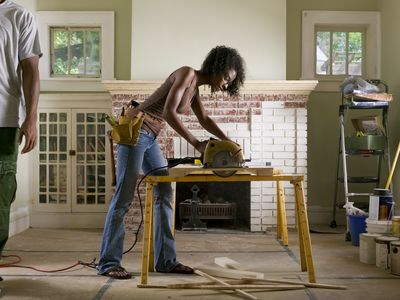 Woman remodeling her house
