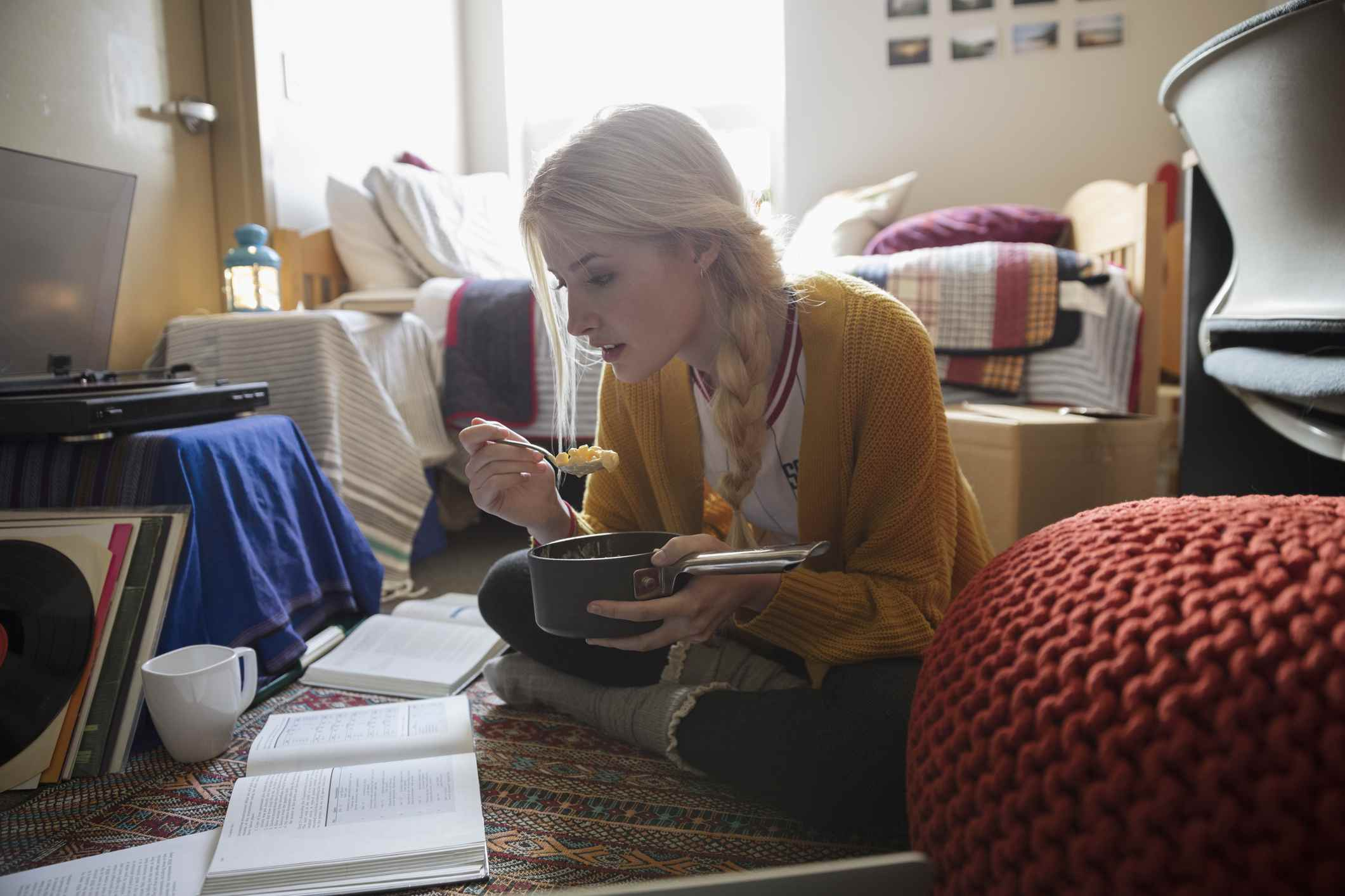 A college student studying