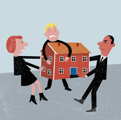 Cartoon image of bereaved relatives arguing over a house