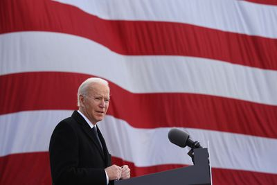 NEW CASTLE, DELAWARE - JANUARY 19: One day before being inaugurated as the 46th president of the United States, President-elect Joe Biden delivers remarks at the Major Joseph R.