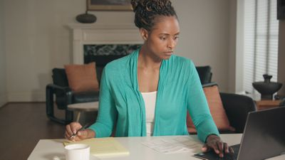 Black Woman Working from Home Office