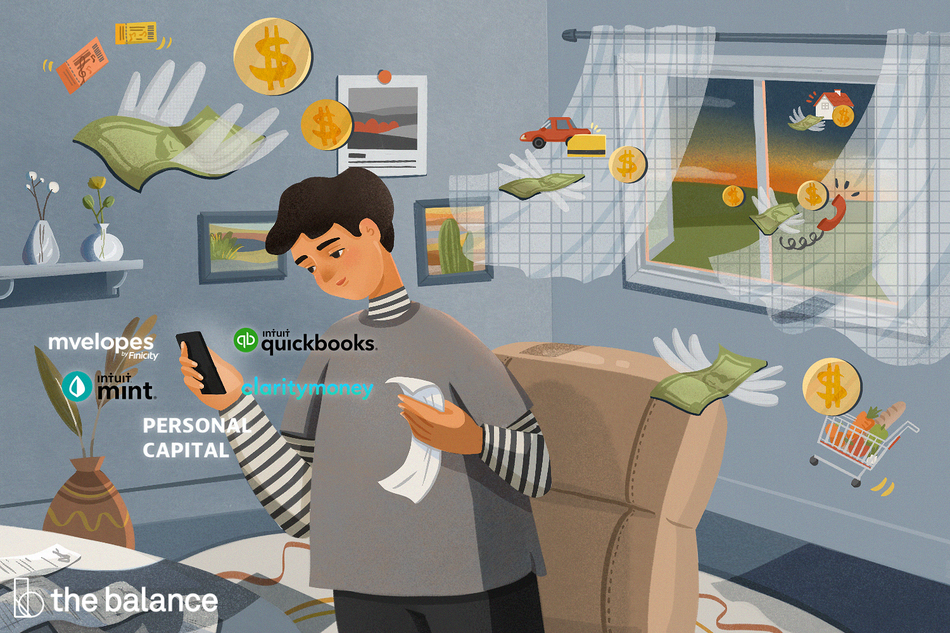 Image shows a man in a room with money flying around with wings. Next to him are icons for intuit quickbooks, mvelops, intuit mint, personal capital, and clarity money.