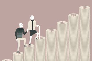 Illustration of senior couple climbing stairs made of money.