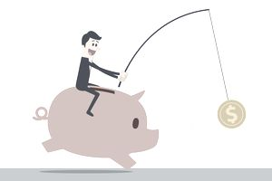 Man riding a piggybank