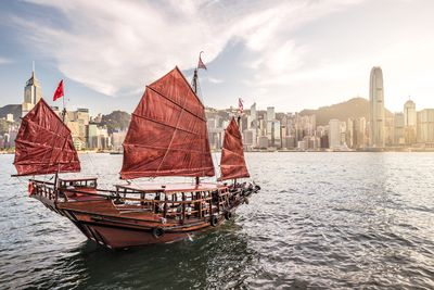 A junk (boat) in Victoria Harbour, Hong Kong