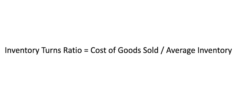 Formula for how to calculate the inventory turnover ratio