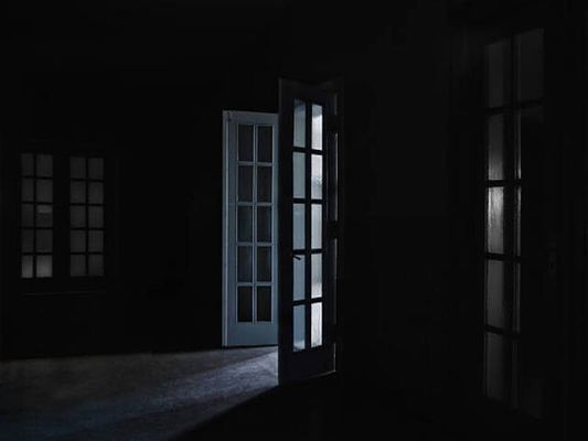 Open French doors within a dark, empty house that has fallen into a probate sale