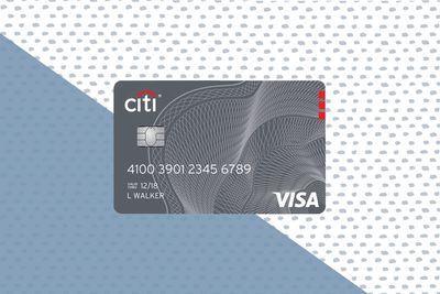 Citi Costoc Anywhere Visa Credit Card on a background.