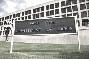 ign outside Department of Labor building, Washington, DC - stock photo