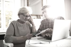 Older couple at computer