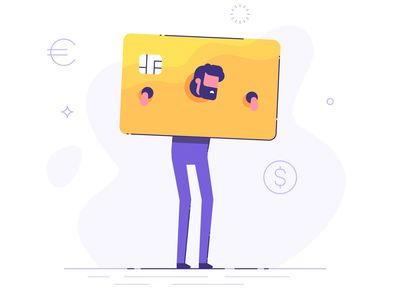 Illustration of man trapped in credit card holding him like the pillory