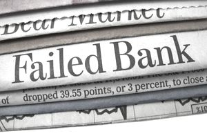 "newspaper with ""Failed Bank"" headline"