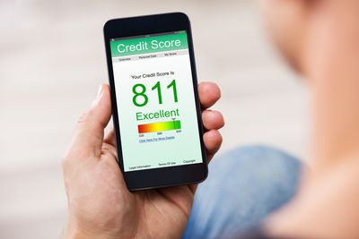 credit score showing on a cell phone