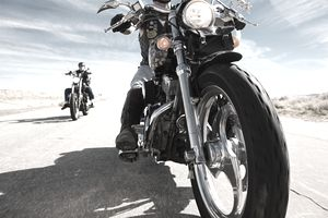 Riding motorcycle