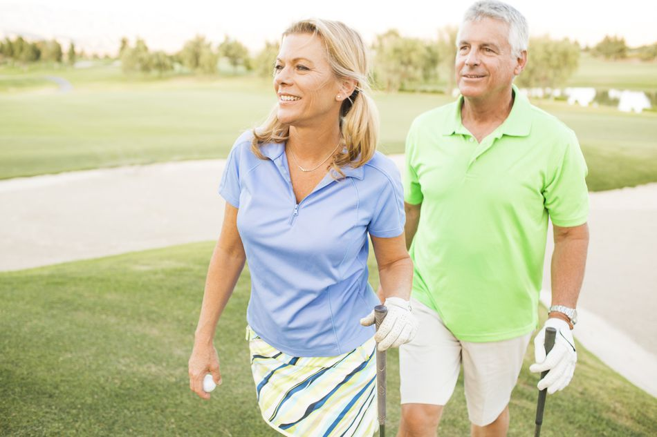 couple on a golf course