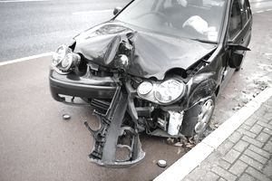 A car damaged in a car accident.