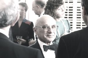 Nobel Prize-winning economist Milton Friedman attends a 1986 Beverly Hills charity dinner in his honor. Duringthe 1980s, Friedman's monetarist policies ruled.