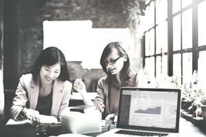 Businesswomen Corporate Marketing Working Concept