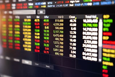 Forex stock trading information on a screen