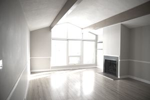Sunny empty living room with hardwood floors and fireplace