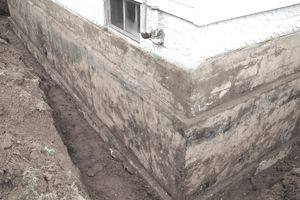 The exposed foundation of a house