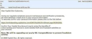 An example of a common phishing email
