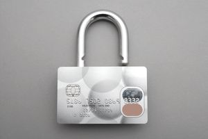 A credit card graphically fashioned to look like a lock