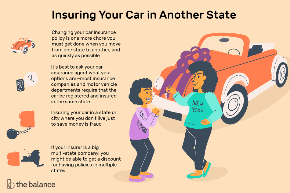 Image shows insuring your car in another state. Changing your car insurance policy is one more chore you must get done when you move from one state to another, and as quickly as possible. It's best to ask your car insurance agent what your options are—most insurance companies and motor vehicle departments require that the car be registered and insured in the same state. Insuring your car in a state or city where you don't live just to save money is fraud. If your insurer is a big multi-state company, you might be able to get a discount for having policies in multiple states.
