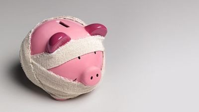 Piggy bank wrapped in gauze