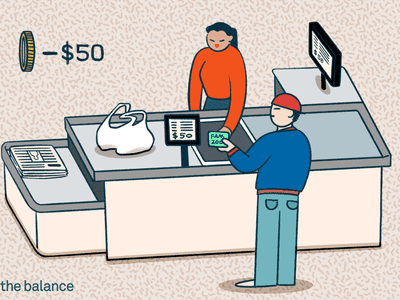 Image shows a man at a store checking out with a credit card. He is paying $50.