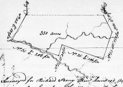 Image of a 1766 survey for three hundred acres in Mecklenburg County, North Carolina granted to Richard Berry.