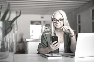 Woman checking her investment information