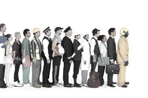 Workers in various fields lined up waiting