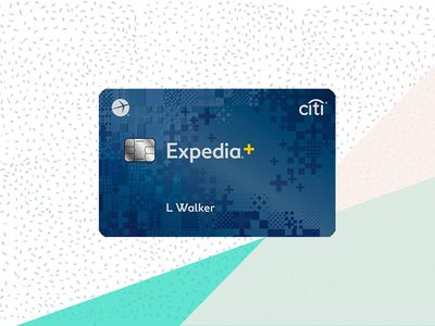 The front face of the Expedia Rewards credit card from Citi on a tri-color background.