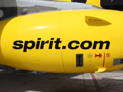 A Spirit Airlines airliner jet engine with