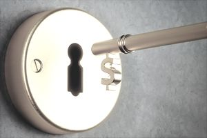 Dollar Shaped Key And Keyhole