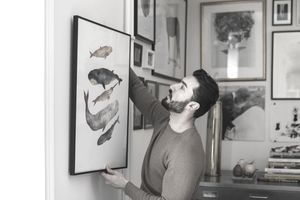 An art collector hangs a recently acquired lithograph.
