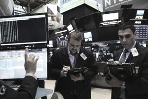 Brokers on the New York Stock Exchange floor