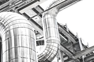 Stainless Steel pipes at an industrial site