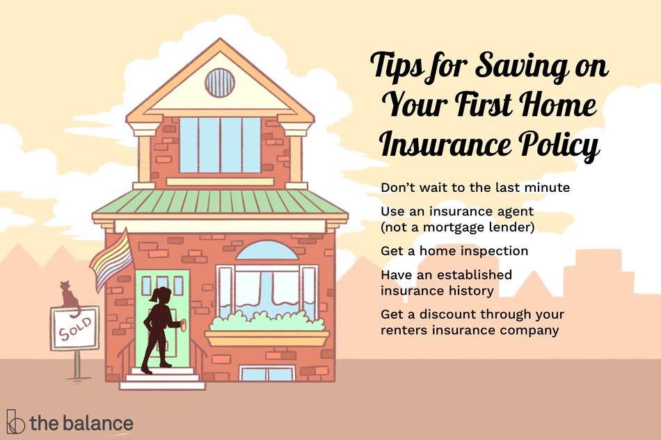 "Image shows a silhouette of a woman entering a home. There is a ""sold"" sign with a cat sitting atop, and a rainbow Pride flag flying near the door. Text reads: ""Tips for saving on your first home insurance policy: don't wait to the last minute, use an insurance agent (not a mortgage lender), get a home inspection, have an established insurance history, get a discount through your renters insurance company"""