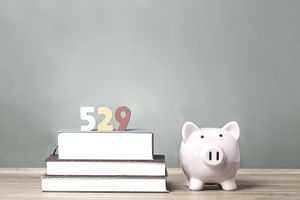 529 figurine on stack of books next to piggy bank