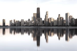 Chicago Skyline, Lake Michigan, Illinois, America