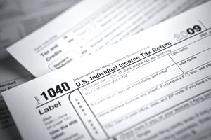 Close up of the IRS form 1040 used for filing income tax.