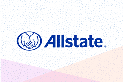 Allstate written in blue text with its logo on a speckled background